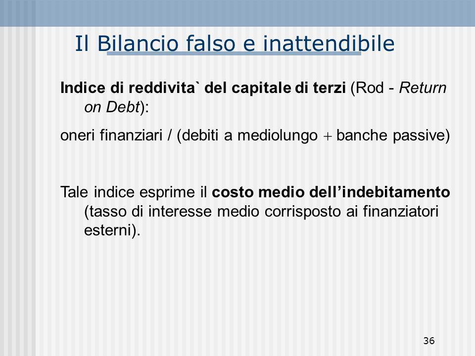 Il Bilancio falso e inattendibile Indice di reddivita` del capitale di terzi (Rod - Return on Debt): oneri finanziari / (debiti a mediolungo banche pa