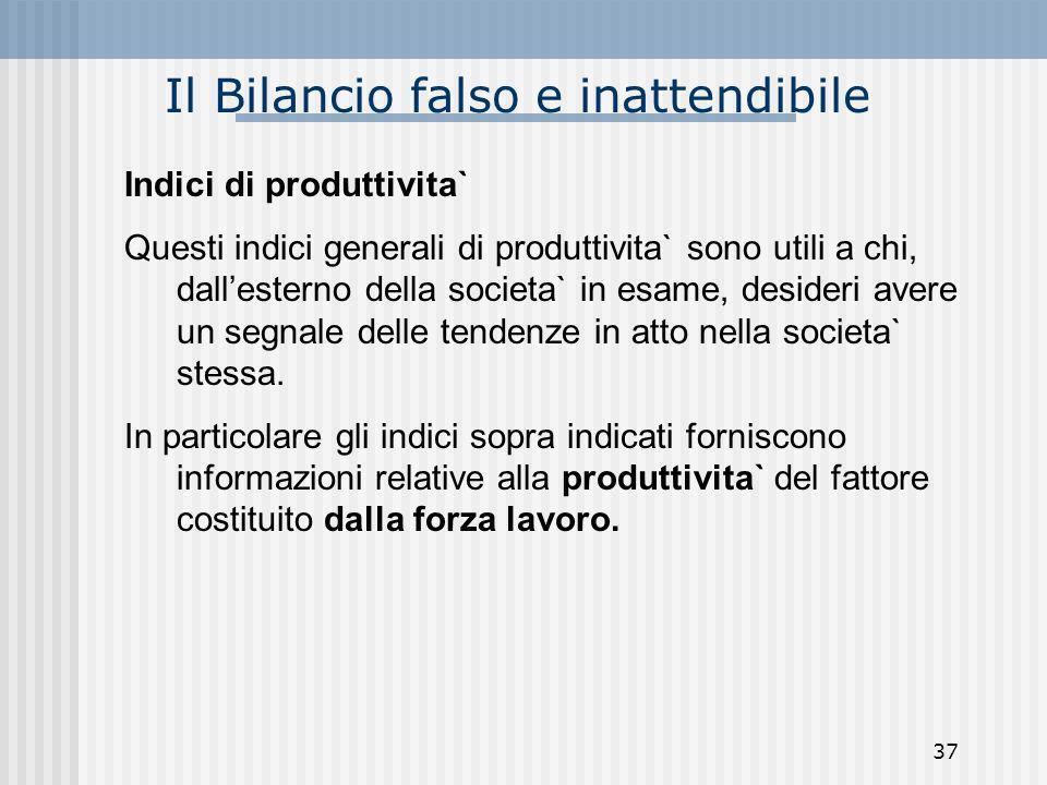 Il Bilancio falso e inattendibile Indici di produttivita` Questi indici generali di produttivita` sono utili a chi, dallesterno della societa` in esam