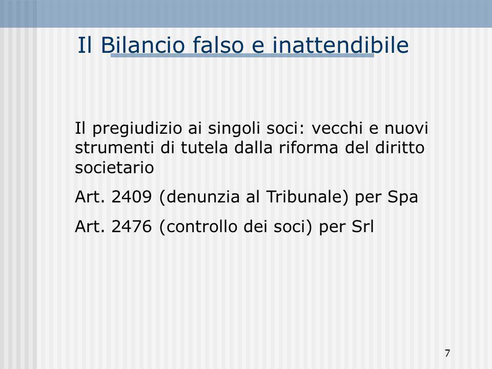 Il Bilancio falso e inattendibile Il pregiudizio ai singoli soci: vecchi e nuovi strumenti di tutela dalla riforma del diritto societario Art. 2409 (d