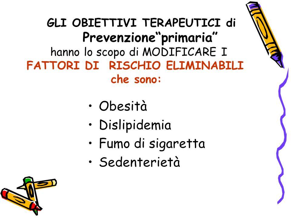Obesità Dislipidemia Fumo di sigaretta Sedenterietà GLI OBIETTIVI TERAPEUTICI di Prevenzioneprimaria hanno lo scopo di MODIFICARE I FATTORI DI RISCHIO