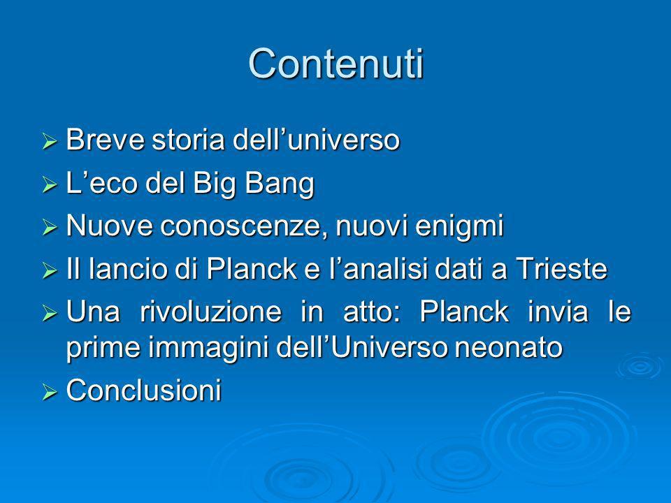 Contenuti Breve storia delluniverso Breve storia delluniverso Leco del Big Bang Leco del Big Bang Nuove conoscenze, nuovi enigmi Nuove conoscenze, nuo