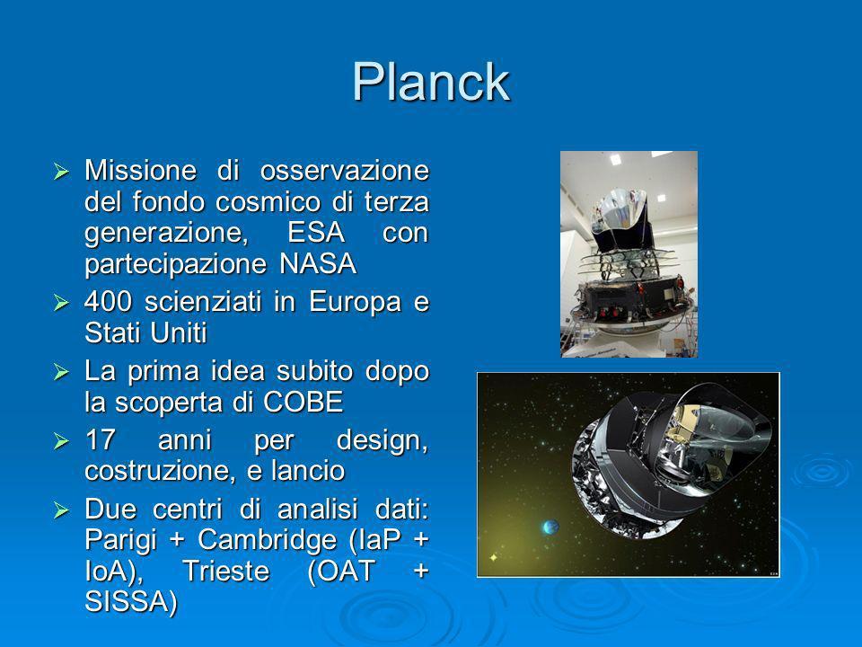 Planck Missione di osservazione del fondo cosmico di terza generazione, ESA con partecipazione NASA Missione di osservazione del fondo cosmico di terz