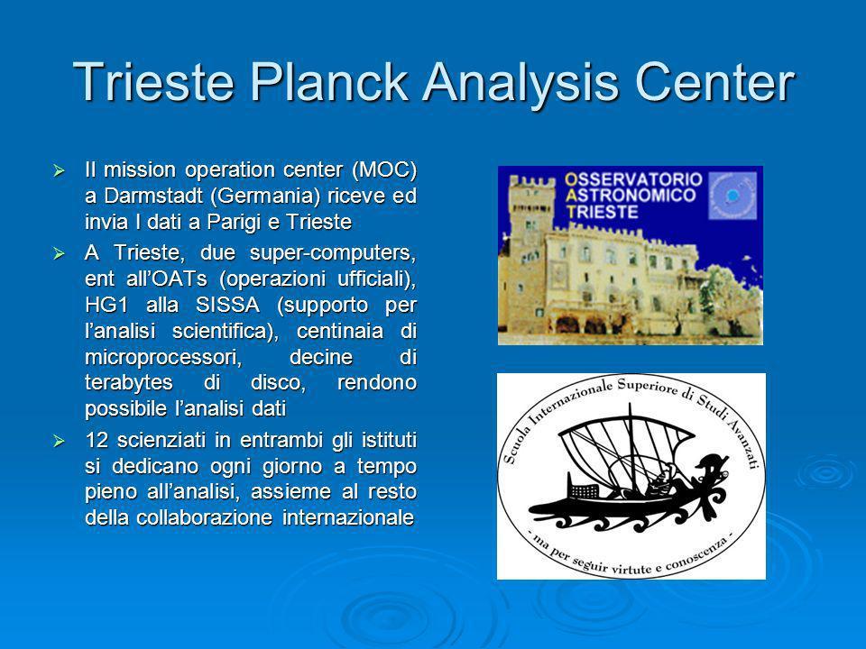 Trieste Planck Analysis Center Il mission operation center (MOC) a Darmstadt (Germania) riceve ed invia I dati a Parigi e Trieste Il mission operation