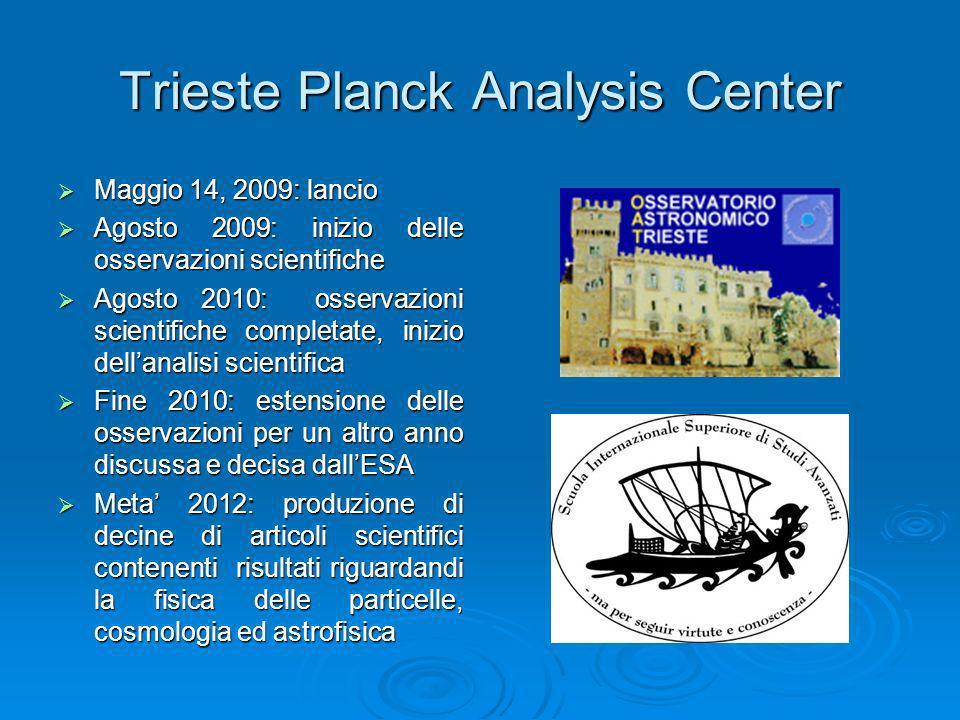 Trieste Planck Analysis Center Maggio 14, 2009: lancio Maggio 14, 2009: lancio Agosto 2009: inizio delle osservazioni scientifiche Agosto 2009: inizio