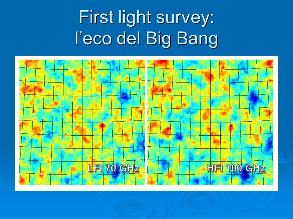 First light survey: leco del Big Bang