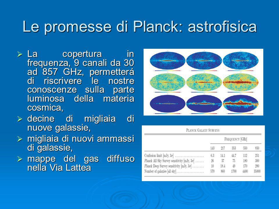 Le promesse di Planck: astrofisica La copertura in frequenza, 9 canali da 30 ad 857 GHz, permetterá di riscrivere le nostre conoscenze sulla parte lum