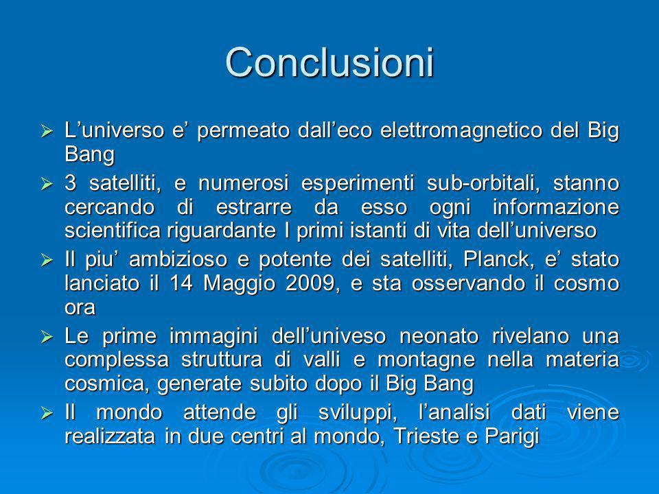 Conclusioni Luniverso e permeato dalleco elettromagnetico del Big Bang Luniverso e permeato dalleco elettromagnetico del Big Bang 3 satelliti, e numer
