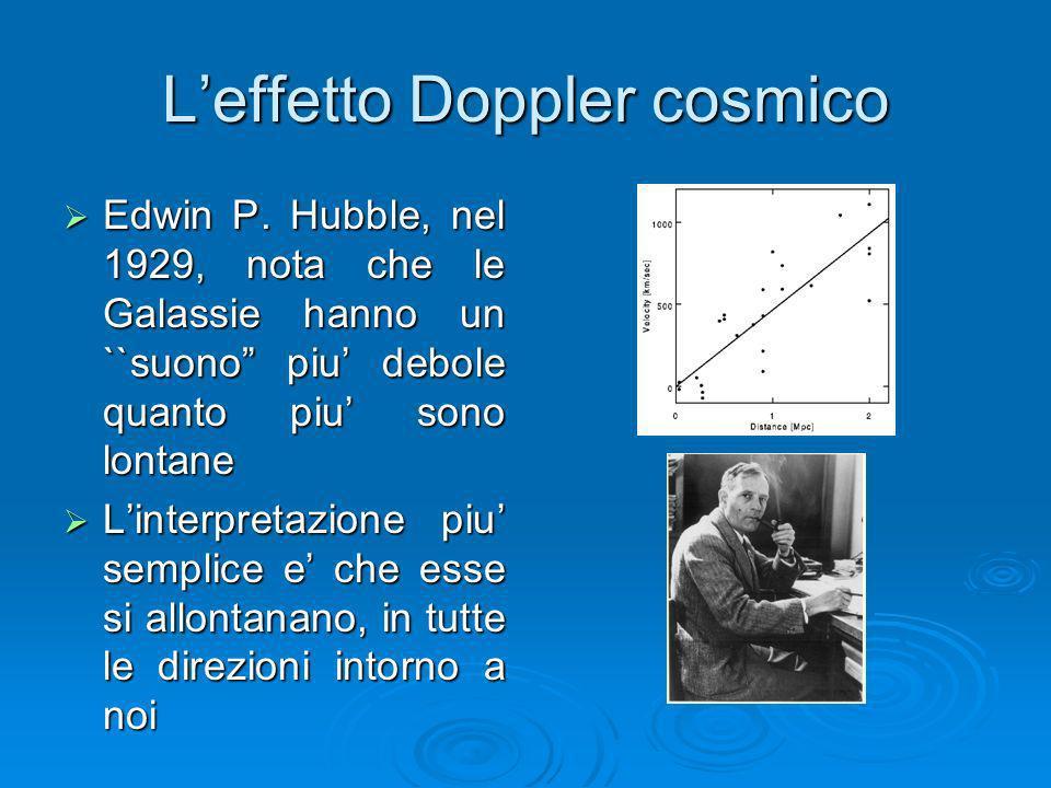 Leffetto Doppler cosmico Edwin P. Hubble, nel 1929, nota che le Galassie hanno un ``suono piu debole quanto piu sono lontane Edwin P. Hubble, nel 1929