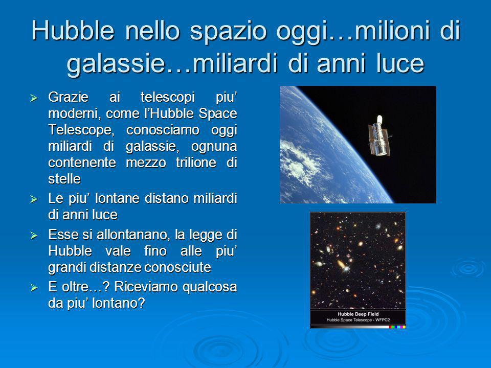 Hubble nello spazio oggi…milioni di galassie…miliardi di anni luce Grazie ai telescopi piu moderni, come lHubble Space Telescope, conosciamo oggi mili