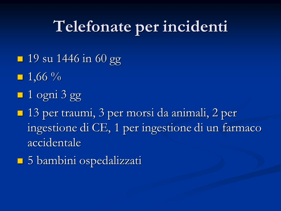Telefonate per incidenti 19 su 1446 in 60 gg 19 su 1446 in 60 gg 1,66 % 1,66 % 1 ogni 3 gg 1 ogni 3 gg 13 per traumi, 3 per morsi da animali, 2 per in