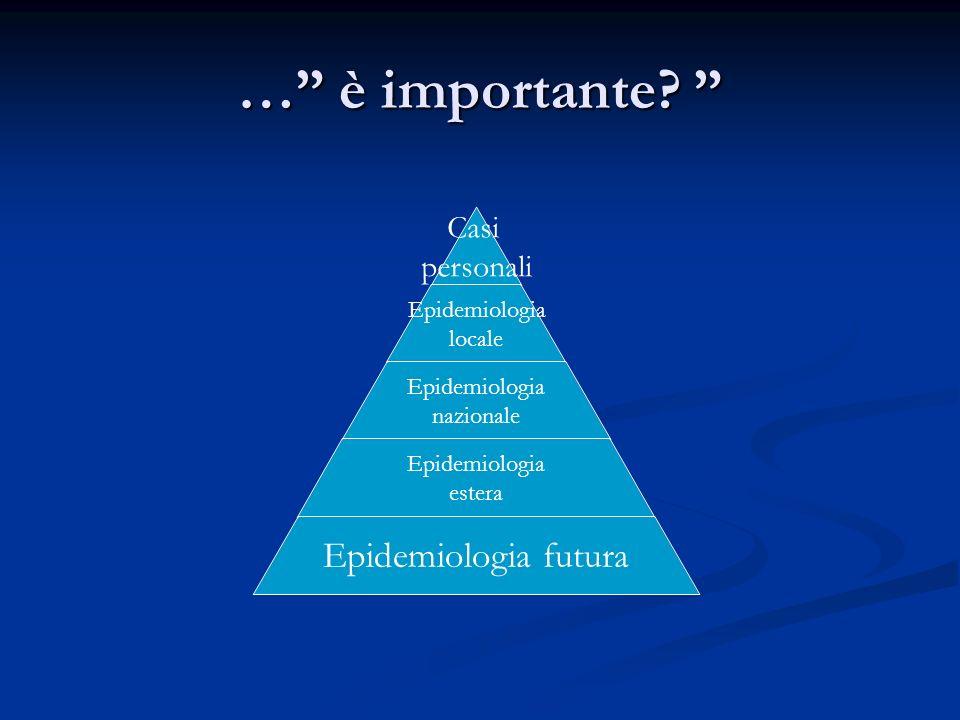 … è importante? … è importante? Casi personali Epidemiologia locale Epidemiologia nazionale Epidemiologia estera Epidemiologia futura