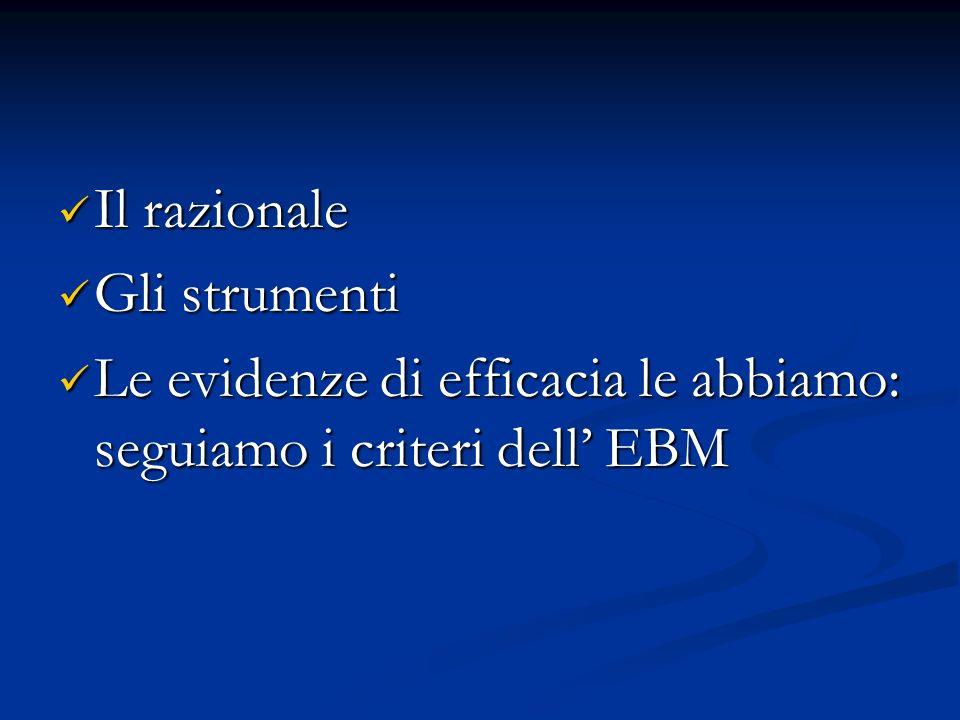 Il razionale Il razionale Gli strumenti Gli strumenti Le evidenze di efficacia le abbiamo: seguiamo i criteri dell EBM Le evidenze di efficacia le abbiamo: seguiamo i criteri dell EBM