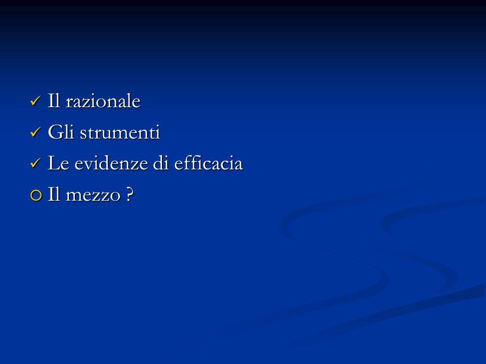 Il razionale Il razionale Gli strumenti Gli strumenti Le evidenze di efficacia Le evidenze di efficacia Il mezzo ? Il mezzo ?