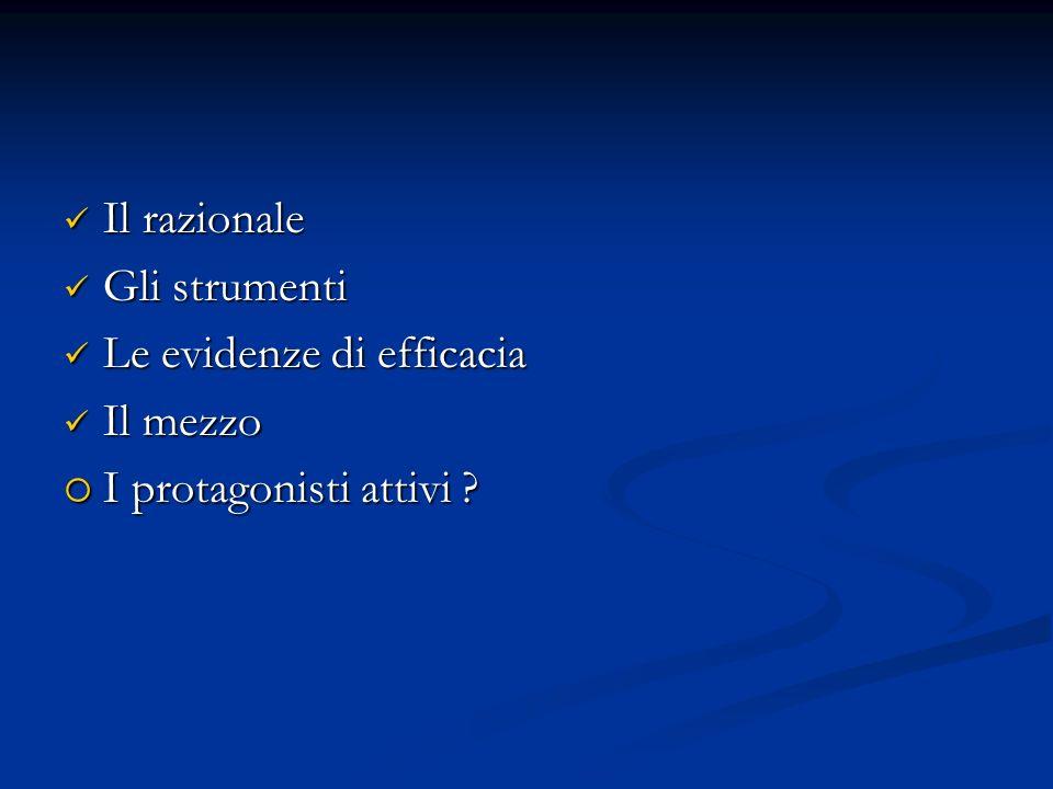 Il razionale Il razionale Gli strumenti Gli strumenti Le evidenze di efficacia Le evidenze di efficacia Il mezzo Il mezzo I protagonisti attivi ? I pr