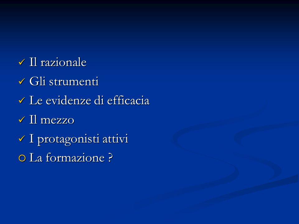 Il razionale Il razionale Gli strumenti Gli strumenti Le evidenze di efficacia Le evidenze di efficacia Il mezzo Il mezzo I protagonisti attivi I protagonisti attivi La formazione .