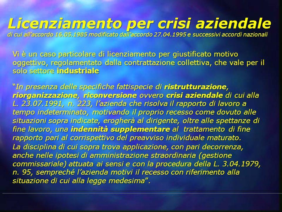 Licenziamento per crisi aziendale di cui allaccordo 16.05.1985 modificato dallaccordo 27.04.1995 e successivi accordi nazionali Vi è un caso particola