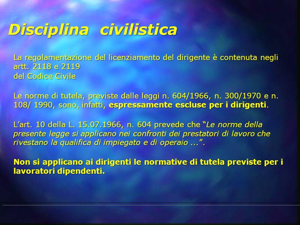Disciplina civilistica La regolamentazione del licenziamento del dirigente è contenuta negli artt. 2118 e 2119 del Codice Civile Le norme di tutela, p