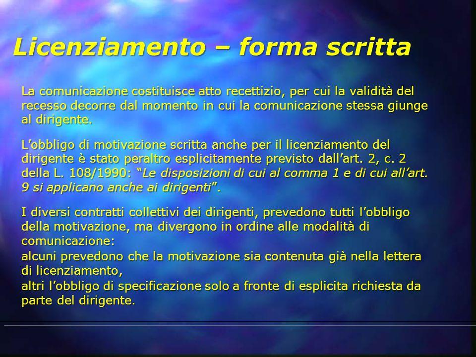 Licenziamento – forma scritta La comunicazione costituisce atto recettizio, per cui la validità del recesso decorre dal momento in cui la comunicazion