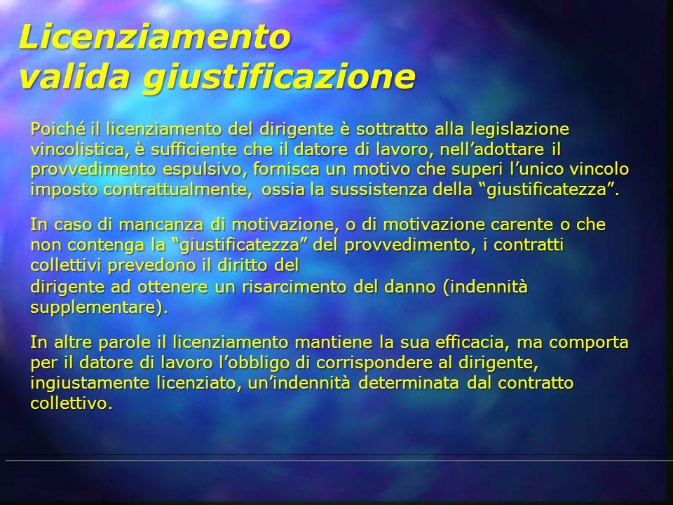 Licenziamento valida giustificazione Poiché il licenziamento del dirigente è sottratto alla legislazione vincolistica, è sufficiente che il datore di