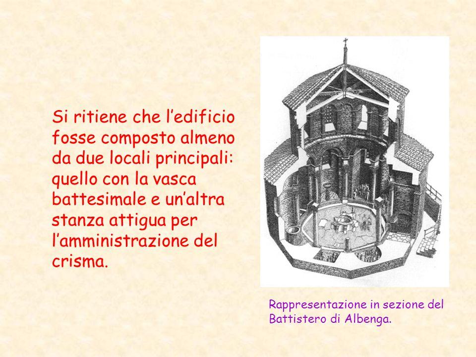 Si ritiene che ledificio fosse composto almeno da due locali principali: quello con la vasca battesimale e unaltra stanza attigua per lamministrazione