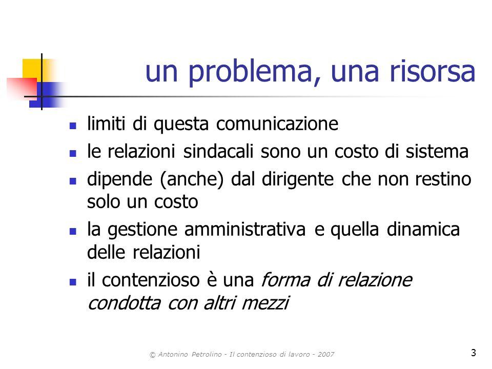 © Antonino Petrolino - Il contenzioso di lavoro - 2007 3 un problema, una risorsa limiti di questa comunicazione le relazioni sindacali sono un costo