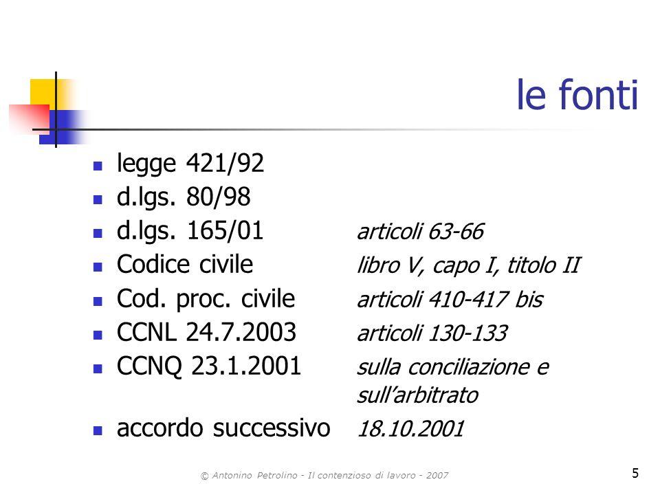 © Antonino Petrolino - Il contenzioso di lavoro - 2007 5 le fonti legge 421/92 d.lgs. 80/98 d.lgs. 165/01 articoli 63-66 Codice civile libro V, capo I