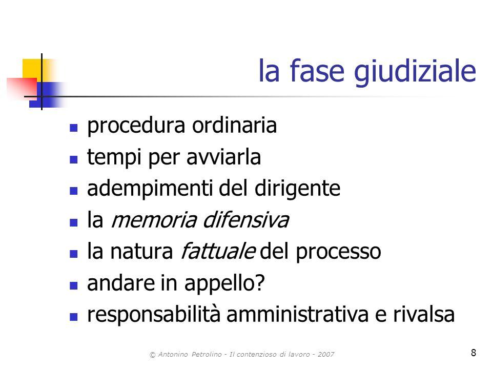 © Antonino Petrolino - Il contenzioso di lavoro - 2007 8 la fase giudiziale procedura ordinaria tempi per avviarla adempimenti del dirigente la memori