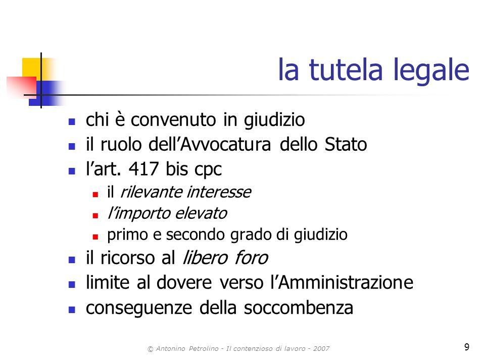 © Antonino Petrolino - Il contenzioso di lavoro - 2007 9 la tutela legale chi è convenuto in giudizio il ruolo dellAvvocatura dello Stato lart. 417 bi