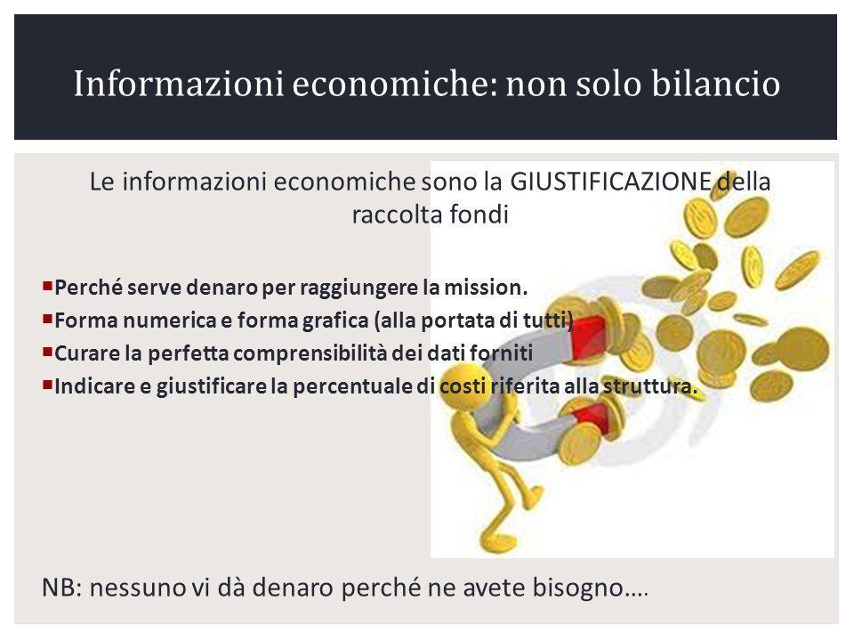 Le informazioni economiche sono la GIUSTIFICAZIONE della raccolta fondi Perché serve denaro per raggiungere la mission.
