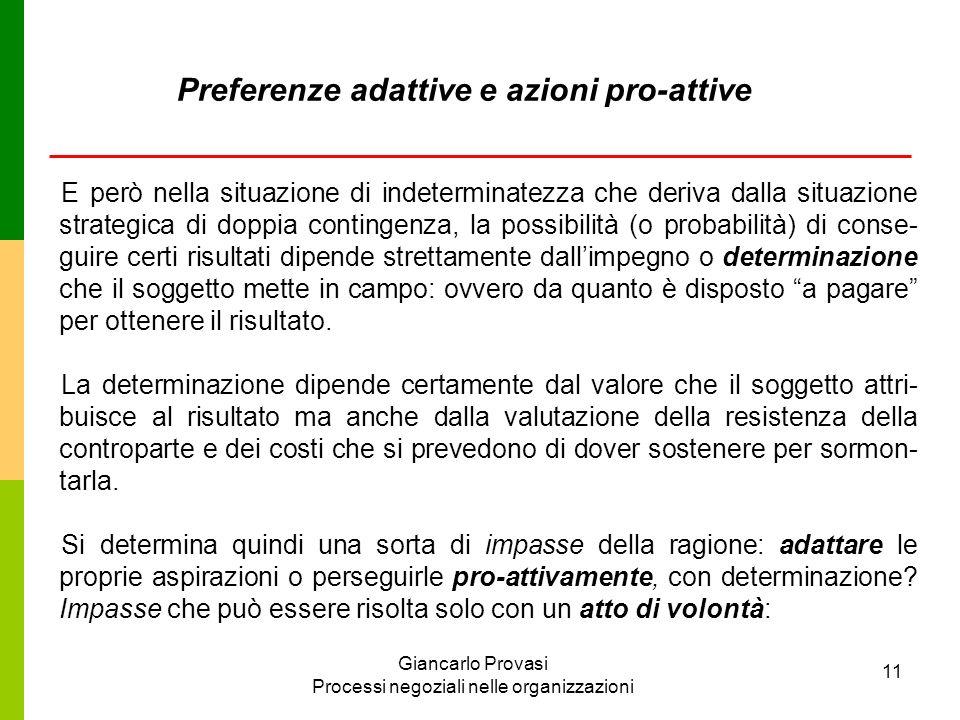 Giancarlo Provasi Processi negoziali nelle organizzazioni 11 Preferenze adattive e azioni pro-attive E però nella situazione di indeterminatezza che d