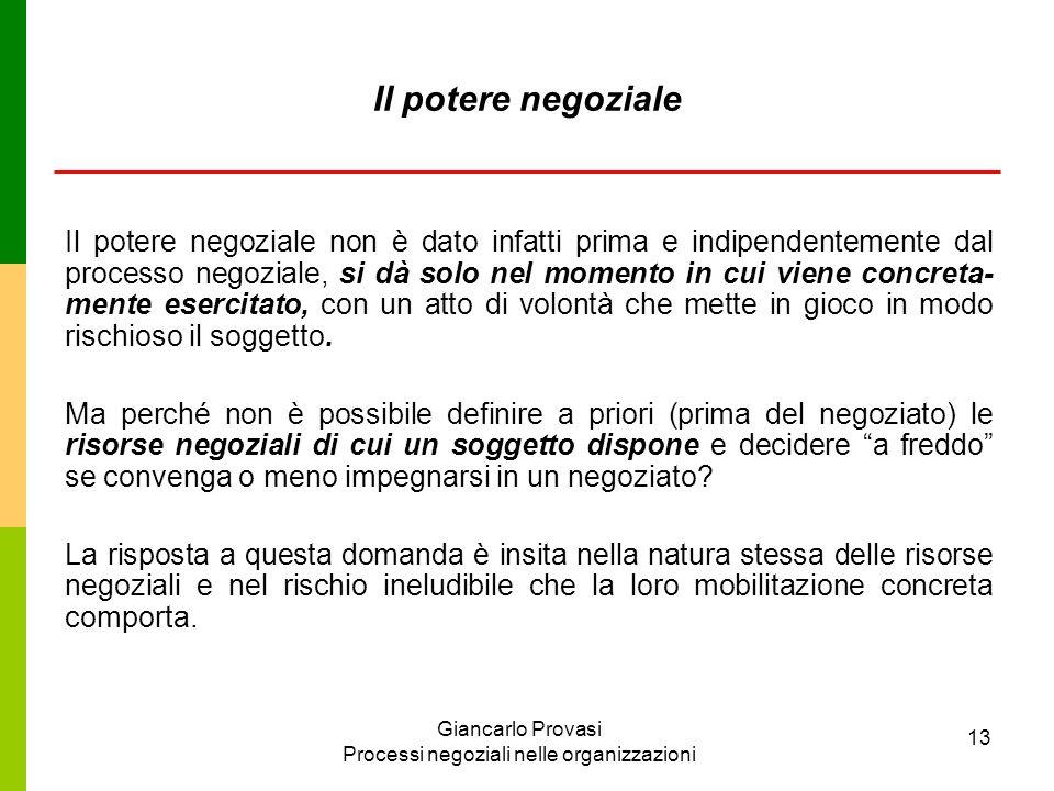 Giancarlo Provasi Processi negoziali nelle organizzazioni 13 Il potere negoziale Il potere negoziale non è dato infatti prima e indipendentemente dal