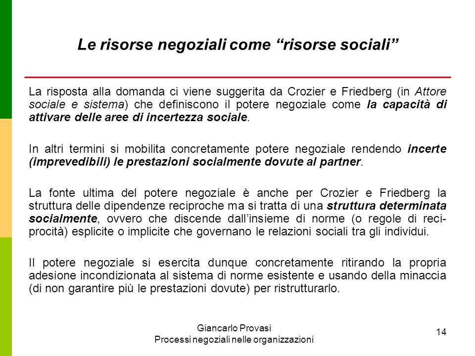 Giancarlo Provasi Processi negoziali nelle organizzazioni 14 Le risorse negoziali come risorse sociali La risposta alla domanda ci viene suggerita da