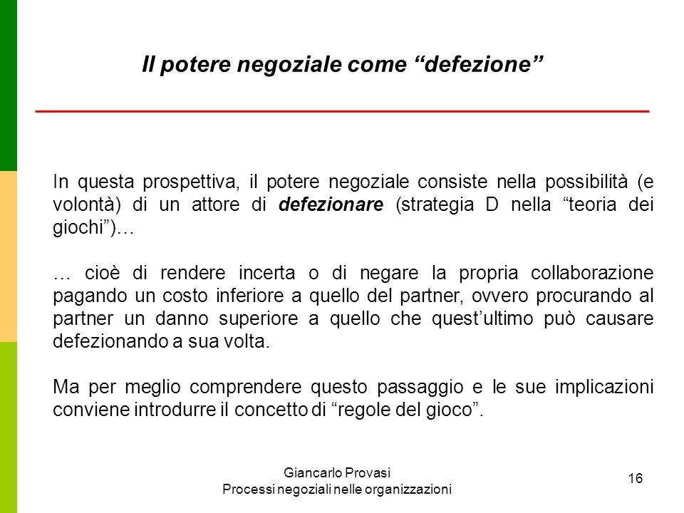 Giancarlo Provasi Processi negoziali nelle organizzazioni 16 Il potere negoziale come defezione In questa prospettiva, il potere negoziale consiste ne