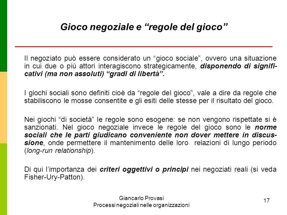 Giancarlo Provasi Processi negoziali nelle organizzazioni 17 Gioco negoziale e regole del gioco Il negoziato può essere considerato un gioco sociale,