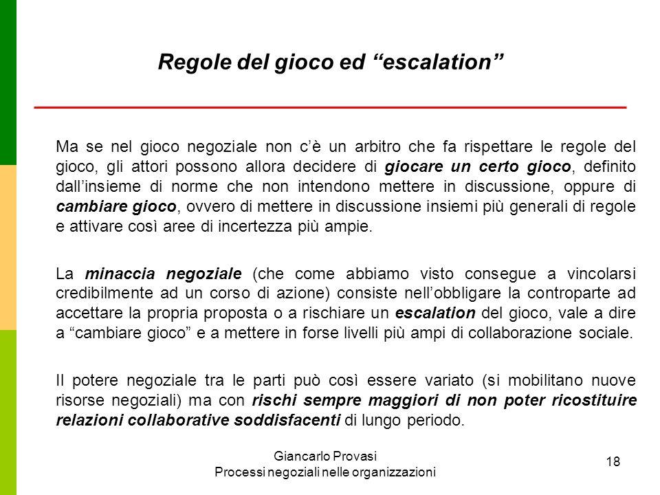 Giancarlo Provasi Processi negoziali nelle organizzazioni 18 Regole del gioco ed escalation Ma se nel gioco negoziale non cè un arbitro che fa rispett
