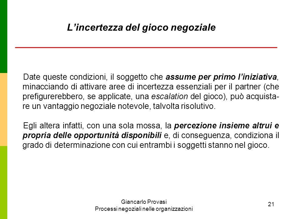 Giancarlo Provasi Processi negoziali nelle organizzazioni 21 Lincertezza del gioco negoziale Date queste condizioni, il soggetto che assume per primo