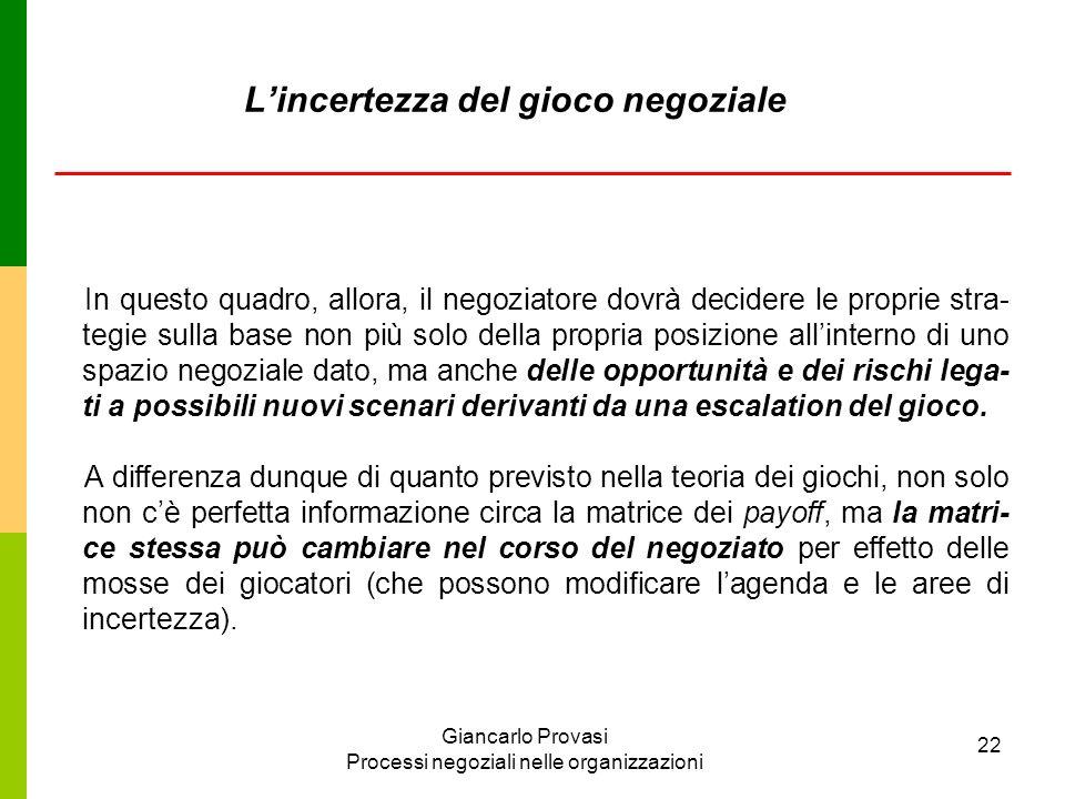 Giancarlo Provasi Processi negoziali nelle organizzazioni 22 Lincertezza del gioco negoziale In questo quadro, allora, il negoziatore dovrà decidere l