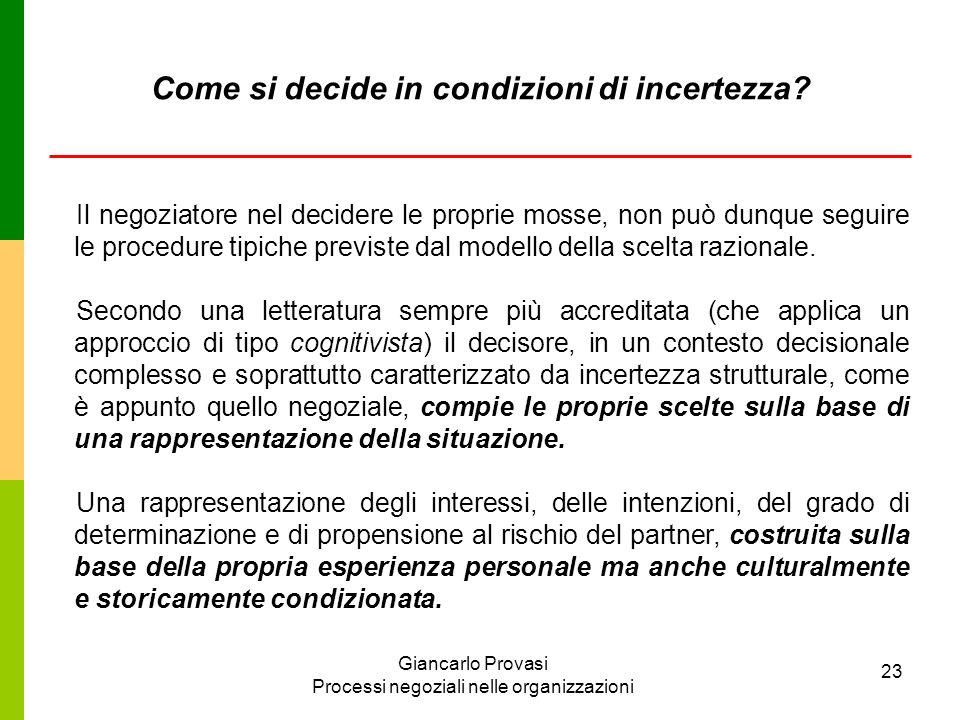 Giancarlo Provasi Processi negoziali nelle organizzazioni 23 Come si decide in condizioni di incertezza? Il negoziatore nel decidere le proprie mosse,