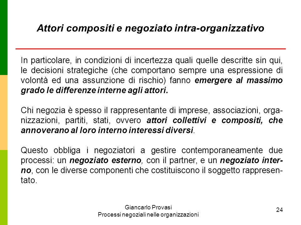 Giancarlo Provasi Processi negoziali nelle organizzazioni 24 In particolare, in condizioni di incertezza quali quelle descritte sin qui, le decisioni