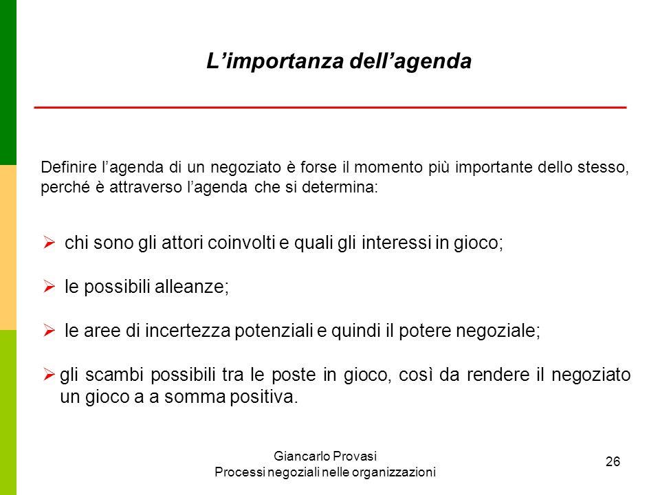 Giancarlo Provasi Processi negoziali nelle organizzazioni 26 Limportanza dellagenda chi sono gli attori coinvolti e quali gli interessi in gioco; le p