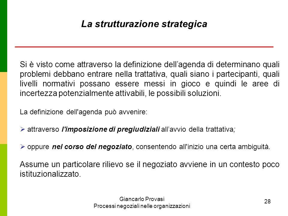 Giancarlo Provasi Processi negoziali nelle organizzazioni 28 La strutturazione strategica Si è visto come attraverso la definizione dellagenda di dete