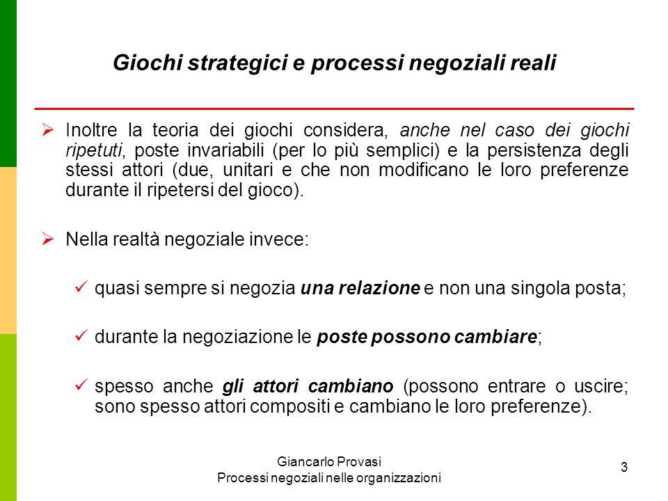 Giancarlo Provasi Processi negoziali nelle organizzazioni 3 Inoltre la teoria dei giochi considera, anche nel caso dei giochi ripetuti, poste invariab