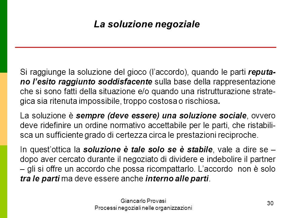 Giancarlo Provasi Processi negoziali nelle organizzazioni 30 La soluzione negoziale Si raggiunge la soluzione del gioco (laccordo), quando le parti re