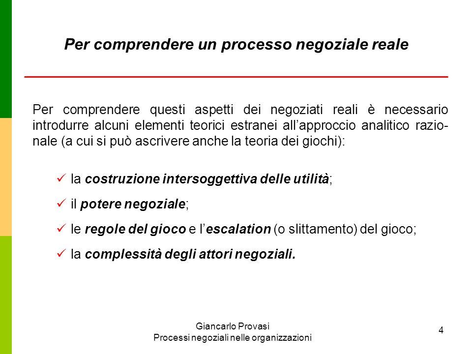 Giancarlo Provasi Processi negoziali nelle organizzazioni 4 Per comprendere un processo negoziale reale Per comprendere questi aspetti dei negoziati r