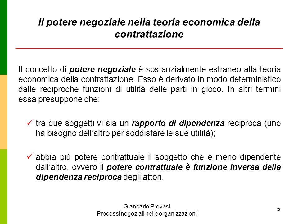 Giancarlo Provasi Processi negoziali nelle organizzazioni 5 Il potere negoziale nella teoria economica della contrattazione Il concetto di potere nego