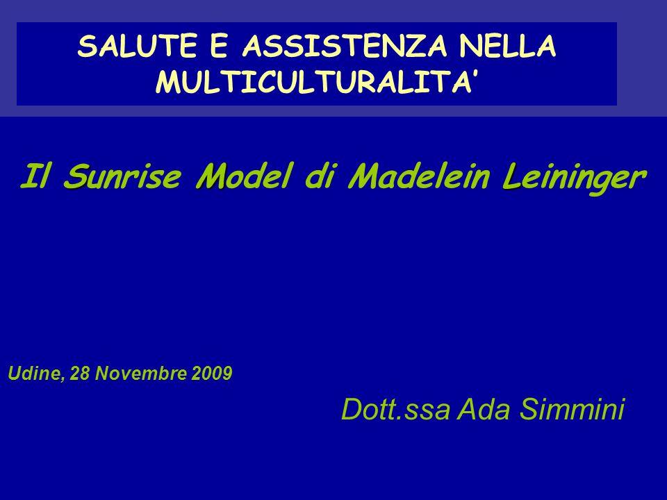 SALUTE E ASSISTENZA NELLA MULTICULTURALITA SML Il Sunrise Model di Madelein Leininger Udine, 28 Novembre 2009 Dott.ssa Ada Simmini