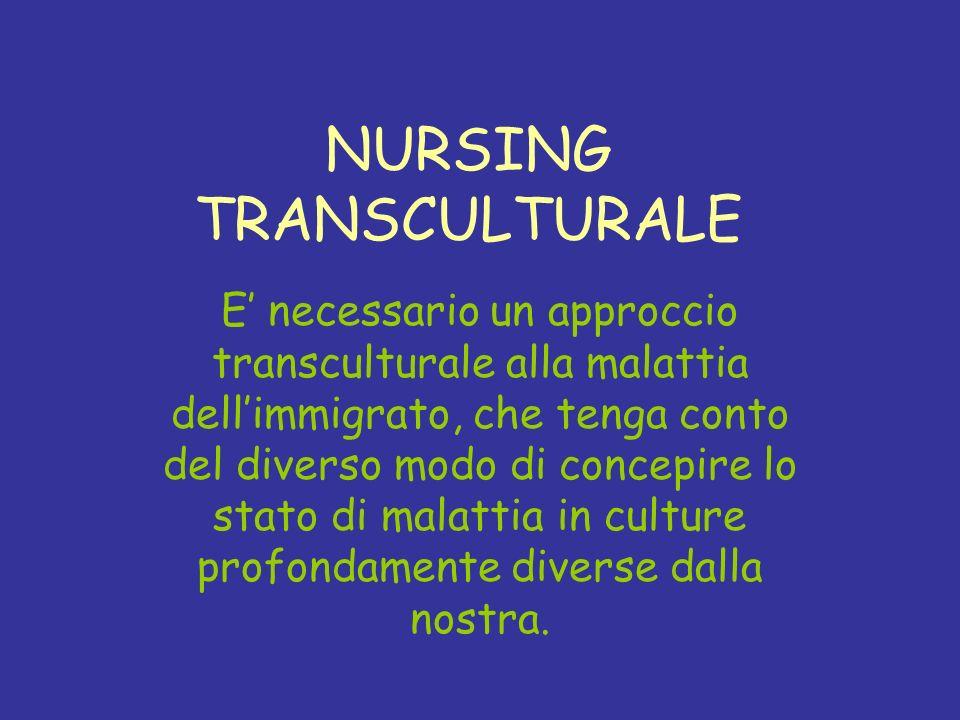 NURSING TRANSCULTURALE E necessario un approccio transculturale alla malattia dellimmigrato, che tenga conto del diverso modo di concepire lo stato di