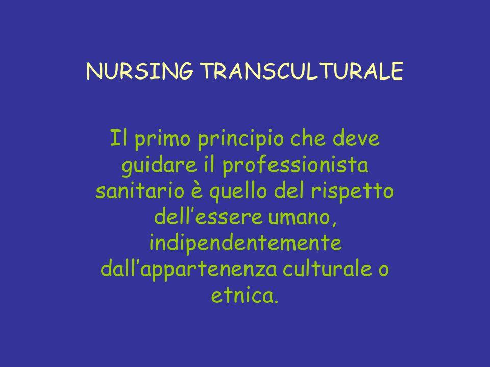 NURSING TRANSCULTURALE Il primo principio che deve guidare il professionista sanitario è quello del rispetto dellessere umano, indipendentemente dalla