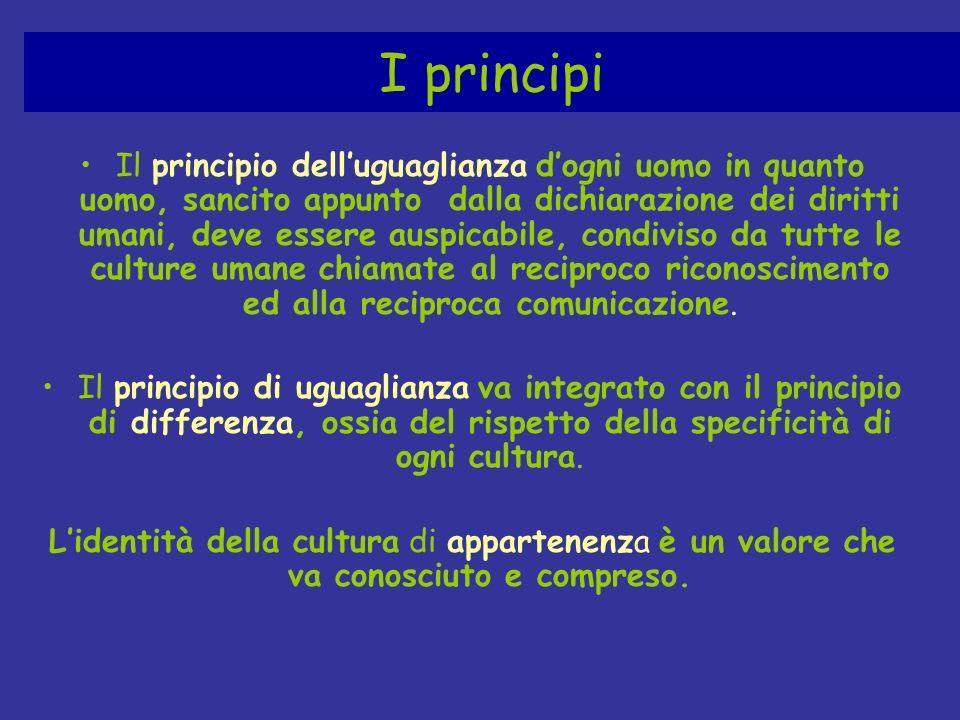 I principi Il principio delluguaglianza dogni uomo in quanto uomo, sancito appunto dalla dichiarazione dei diritti umani, deve essere auspicabile, con