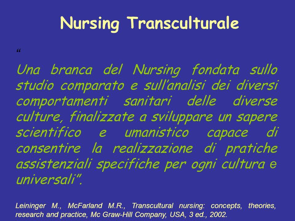 Nursing Transculturale Una branca del Nursing fondata sullo studio comparato e sullanalisi dei diversi comportamenti sanitari delle diverse culture, f